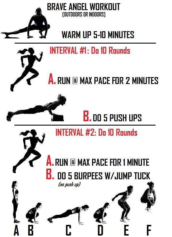 Brave Angel Workout Run-Pushup-Burpee